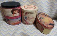 Coca Cola Coke Girl Vintage Oval Mini Tin Tip Trays Lot of 4