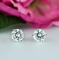 14k White Gold Over 2.50Ctw Round Moissanite 6-Prong Solitaire Stud Earrings