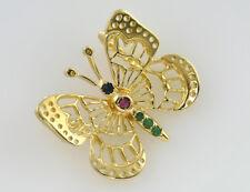 Anhänger Schmetterling, Butterfly Smaragd, Rubin, Saphir 585 14K Gelbgold