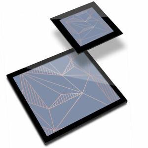 Glass Placemat  & Coaster - Blue Geometric Art Deco Triangles  #21579