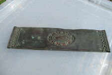 Antique Copper Finger Plate Push Door Handle Wreath Ribbon Bow Leaf Vintage Old
