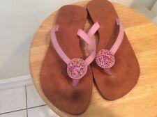 MYSTIQUE PINK Jeweled  Leather Flat Sandal Flip Flops - Sz 8 EUC