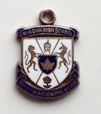 Vintage WINONA USA sterling silver enamel travel bracelet souvenir shield charm