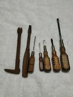 Vintage Lot 7 Hand Tools Wood Handle  Antique Tools 9724 Plumb USA Crow Bar
