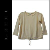 J Jill Women's Tied Hem Yellow Scoop Neck Long Sleeve Blouse Size Large