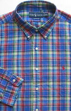 New $89 Polo Ralph Lauren Long Sleeve Blue Plaid Cotton - Linen Shirt / Large