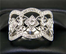 14k White Gold Diamond Antique style Band ring