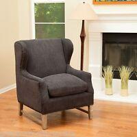 dark grey fabric wingback arm chair