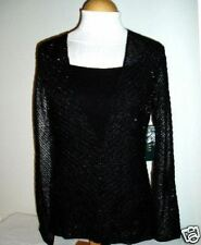 NWT Ralph Lauren Black Beaded Knit Sweater Twin Set M