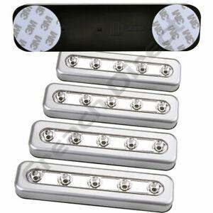 SILVER 5 LED STRIP PUSH LIGHTS BATTERY STICK CUPBOARD CABINET SHED CAMPER VAN