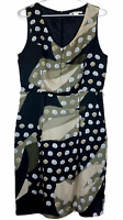Jane Lamerton Womens Khaki/Black Spotted Sleeveless Lined Dress Size 12