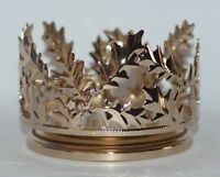 BATH BODY WORKS GOLD HOLLY JOLLY LEAVES LARGE 3 WICK CANDLE HOLDER SLEEVE 14.5OZ