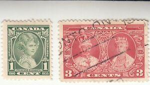 CANADA 1935, SILVER JUBILEE, 1c Princess Elizabeth, 3c KGV & Queen Mary. USED