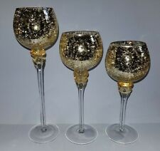 Set of 3 Crackle Glass Tealight Holders Home Table Decoration Ideal Gift