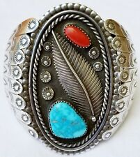 Authentic Vintage Hand Stamp Sterling Silver with Turquois & Coral Cuff Bracelet