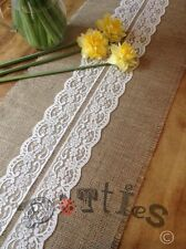 7ft Pretty Rustic Hessian And Lace Table Runner