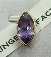 100% Genuine 9ct Yellow Gold Large Marquise Amethyst Solitaire  Pendant