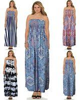 women strapless maxi dress ladies sheering boobtube bandeau belong plus size8-24