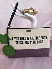 KATE SPADE NWT DISNEY GLITTER WRISTLET POUCH BAG ALL YOU NEED IS A LITTLE FAITH