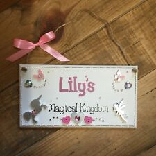 Unicorn Fairies Personalised Girls Room Door Sign Plaque Hearts Sparkle Pretty
