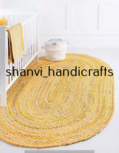 Oval Braided Rug Yellow Colour Handwoven 6x9 Feet Area Rug Home Decor Floor Rugs