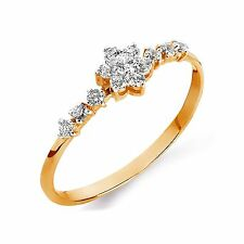 585/14ct Russian Rose Gold CZ Flower Ring Gift boxed