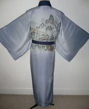 RARE VINTAGE MEN'S JAPANESE LIGHTWEIGHT SILK UNLINED JUBAN KIMONO Dressing Gown