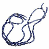 3 PCS Strand Lapis Blue Beads 4 mm Round Gemstone TOP H1V7