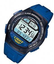 Casio Men's Blue Rubber Day Date Alarm Lap Timer Sport Digital Watch W734-2AV
