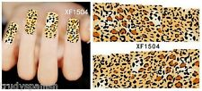 Full Wrap Water Transfers Nail Art Stickers Decals Leopard Print Spots (1504)