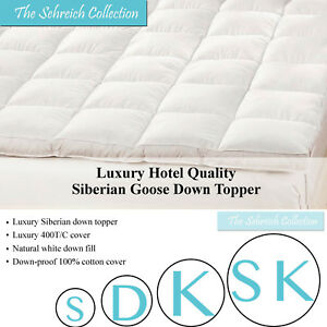 Quilted Mattress Protector Siberian Goose Down Protector Soft Hotel Quality