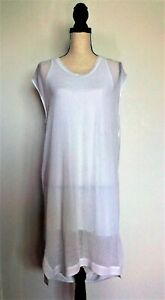 HELMUT LANG Women's Med White Poly Blend Scoop-Neck Drape Back Shift Dress USA