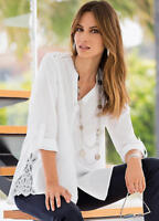 Lace Trimmed White Cotton Tunic style Relaxed fit Shirt Size 8