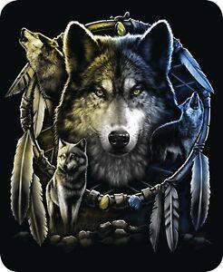 "45x60"" Super Soft Blanket Wolf Mandela Dream Catcher Throw Plush Faux Fur Wolves"