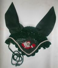 Horse Earnet Crochet Fly Veil Equestrian Fly Bonnet/veil/Fly mask FFE32 (Green)