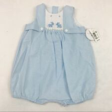 EdgeHill Collection New Baby Bunny smocked bubble coverall romper shortall blue