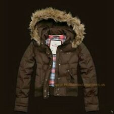 HOLLISTER BY ABERCROMBIE FITCH Womens Down Hooded Winter Puffer Jacket SMALL Fur