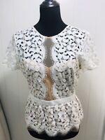 BCBG Max Azria Women Sz M Top Shirt Blouse Lilia Sheer Lace Peplum Back Zip