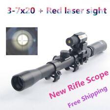 Set Of 3-7X20 Air Gun Rifle Optics Cross Reticle Scope +20mm Mounts +Red Laser