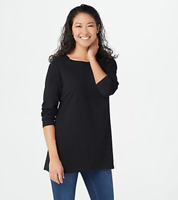 Denim & Co. Jersey Boatneck Long-Sleeve Tunic - Black - Medium