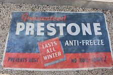 Vintage Prestone Anti-Freeze Fence Banner Gas Oil Cloth Garage Sign Car Rat Rod