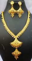 22K Gold Plated Indian 8'' Long Wedding Necklace Earrings Set Aaj