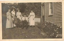 Vintage Antique Photograph Women Surrounding Man Sitting in Chair in Garden