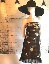 BCBG MAXAZRIA Runway Strapless Mini Black Dress with Lace Floral & Feathers -S