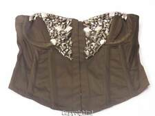 NWOT Over Bust Satin Brown Corset Lightly Boned Jeweled Bling Rock Glam S Small