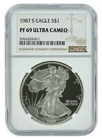 1987 S 1oz Silver Eagle Proof NGC PF69 Ultra Cameo - Brown Label