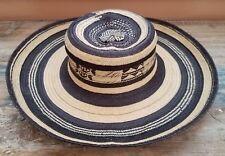 "Vintage Woven Ethnic Boho Natural & Dark Brown Fiber Straw Hat XS 20.5"" Cir."