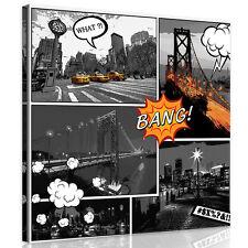 CANVAS Wandbild Leinwandbild Bild Stadt Comic Brücke Taxi Strasse 3FX10676O2