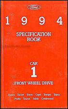 1994 Ford Service Specs Book Capri Probe Escort Taurus Tempo Sable Tracer Topaz