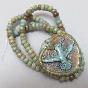 Porcelain Hummingbird Handmade Pendant + African Opal Jasper rondelles